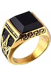 2016 New Gold Black Onyx Titanium Steel Men's Signet Masonic Ring for Men Rw36c