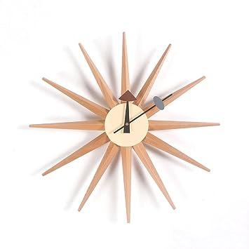 QJONKE Atomic Holzwand Uhr Mitte Jahrhundert Multi Farbe Handgefertigte  Antike Retro Dänische Nelson Style,Woodcolor