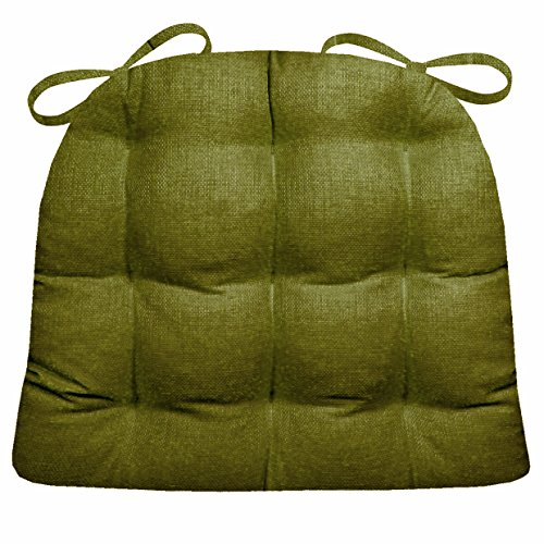 (Indoor / Outdoor Chair Pad - Rave Sage Green Solid Color Woven Fabric - Mildew Resistant, Fade Resistant-Reversible Latex Foam Fill, Outdoor Furniture Replacement Cushion for Patio Armchair )