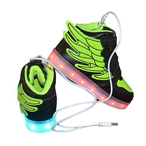 luckfugui Green Cool Led Shoes High Top Lights Toddler Flashing Colors Kids Light Hiphop Shoes up Sneakers Girl Boy 11 rpwArqU