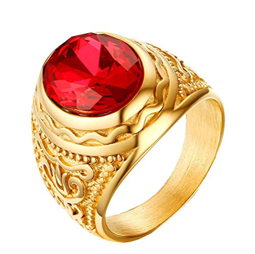 PAMTIER Men's Stainless Steel Engraved Oval Ruby Stone Ring Gold Plated Small Size 11 ()
