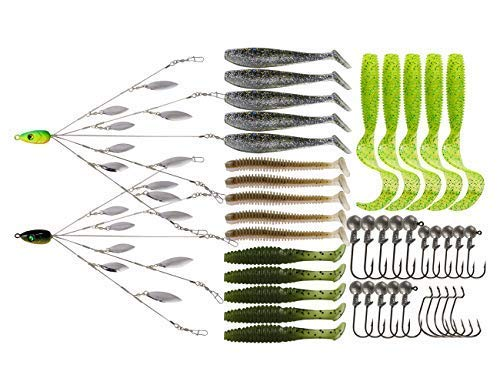 Ilure 5 Arms Alabama Umbrella Rig Fishing Ultralight Tripod Bass Lures Bait Kit Junior Ultralight Willow Blade Multi-Lure Rig (8 Blade kit ()