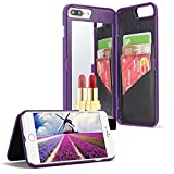 For iPhone 7 8 Mirror Wallet Case, Aearl Matte Hard PC Make Up Mirror Cover PU Leather Card Slot Holder with Kick Stand Function Protective Bumper Shell with Screen Protector for iPhone 8 7 - Purple