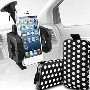 Sony Xperia M Protección Premium Polka PU ficha de extracción Slip espinal en bolsa de la cubierta de piel de bolsillo rápido con soporte universal de la succión del parabrisas del coche Vent Cuna Blanco y Negro por Spyrox