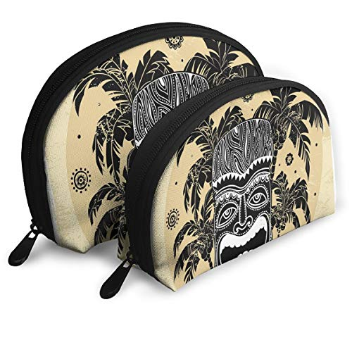 Shell Shape Makeup Bag Set Portable Purse Travel Cosmetic Pouch,Hawaii Tiki Mask Figure Palm Trees Ornate Flowers Sunny Summer Party Print,Women Toiletry Clutch ()