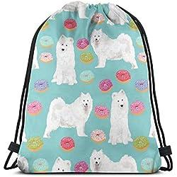 "Niomhdos Samoyed Dog Donuts Dog Design Pastel Dogs Design Cute Sled Dogs Samoyeds Dog_17641 Custom Drawstring Shoulder Bags Gym Bag Travel Backpack Lightweight Gym for Man Women 16.9""x14"""