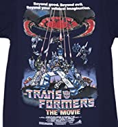 Mens Navy Transformers Retro Movie Poster T Shirt
