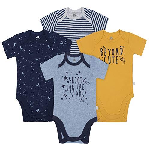 JUST BORN Baby Boys' 4-Pack Organic Short-Sleeve Bodysuit, Space, 6-9 Months