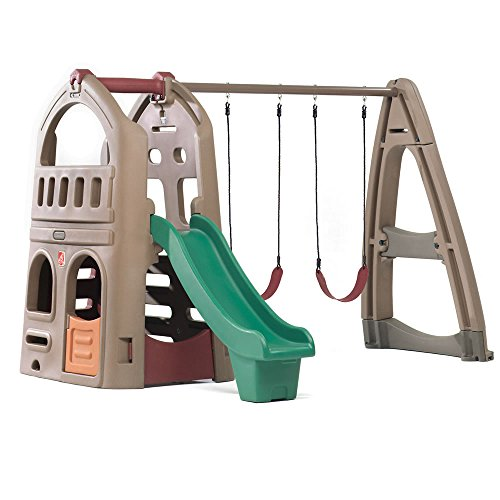 Outdoor Plastic Playhouses (Step2 Naturally Playful Playhouse Climber & Swing Set Extension)