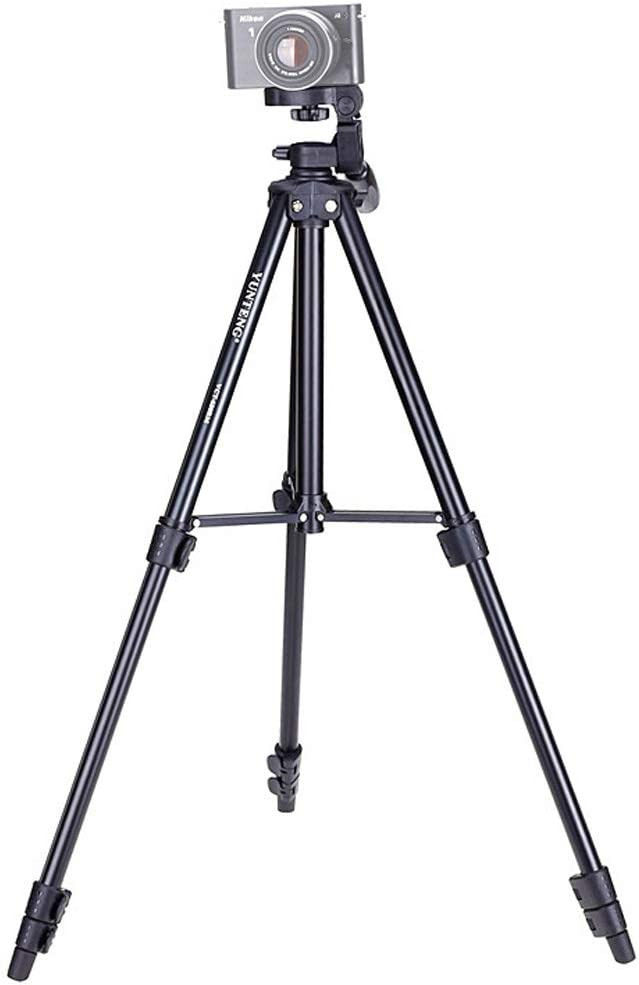Black Color : Black Adjustable Height: 46-138cm Rotations YHM YUNTENG VCT-680RM 4-Section Folding Legs Aluminum Alloy Tripod Mount with Three-Dimensional Tripod Head for DSLR /& Digital Camera