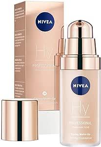 NIVEA PROFESSIONAL Ácido hialurónico, base de maquillaje profesional, 10C, pieles claras, maquillaje antiedad para reducir las arrugas, base para maquillaje con triple efecto antiedad, 1 x 30 ml