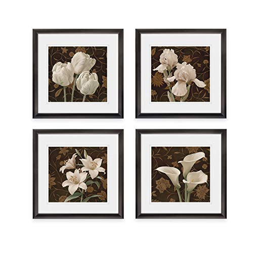 WEXFORD HOME Flores Elegante Spring Collection Flower Print 4 Panels Set Framed Décor for Home Office Wall Art, 20X20, Black