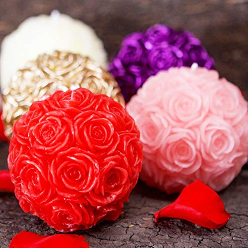 Candle Molds: Nicole Silicone Candle Mold 3D Rose Ball Shape Handmade Soap Mould Craft Resin Clay Decorating Tool