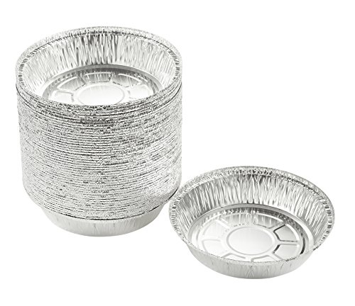 Aluminum Foil Pie Pans - 50-Piece Round Disposable Tin Pans for Baking, Roasting, Broiling, Cooking, For Temperatures Up To 500-F, 7.25 x 1.75 x 7.25 Inches