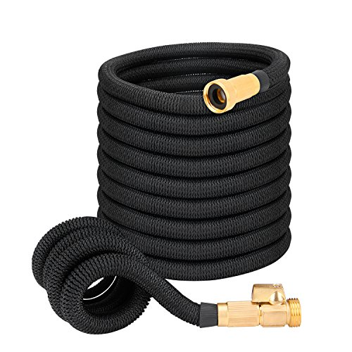 - IWDO Best Expandable Garden Hose- 50/75/100 Feet Strongest Double Core Latex and 3/4 Solid Brass Fittings, Easy Storage Kink Free Flexible Water Hose (50 Feet)