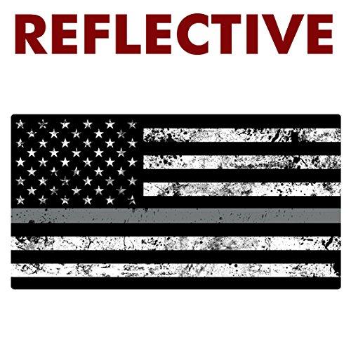 REFLECTIVE Thin SILVER LINE Grunge Flag Sticker - #FS2011-RE
