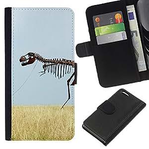 Apple iPhone 5C , la tarjeta de Crédito Slots PU Funda de cuero Monedero caso cubierta de piel ( Skeleton Dinosaur Field Nature Grass Sky)