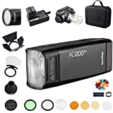 GODOX AD200Pro with H200R and AK-R1 Round Head Accessory Kit, 200Ws 2.4G Flash Strobe, 1/8000 HSS, 500 Full Power Flashes, 0.01-2.1s Recycling, 2900mAh Battery, Bare Bulb/Speedlite Fresnel Flash Head