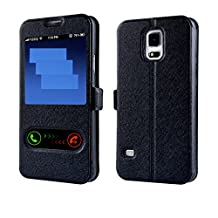 Galaxy S5 Case,Gift_Source Black [Slim Fit] Window View PU Leather Case Flip Cover Folio Case for Samsung Galaxy S5 i9600 Case,Sent Screen Protector + Stylus Pen