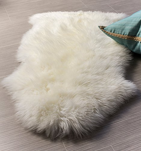 Sheepskin Wool Rug Throw - Super Area Rugs Single Ultra-Soft New Zealand Fluffy Sheepskin Rug, Pelt, Natural