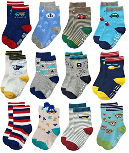 Deluxe Non Skid Anti Slip Slipper Cotton Crew Socks With Grips For Baby Toddler Boys 3T 4T 5T (3-5 Years, 12-pairs/assorted)