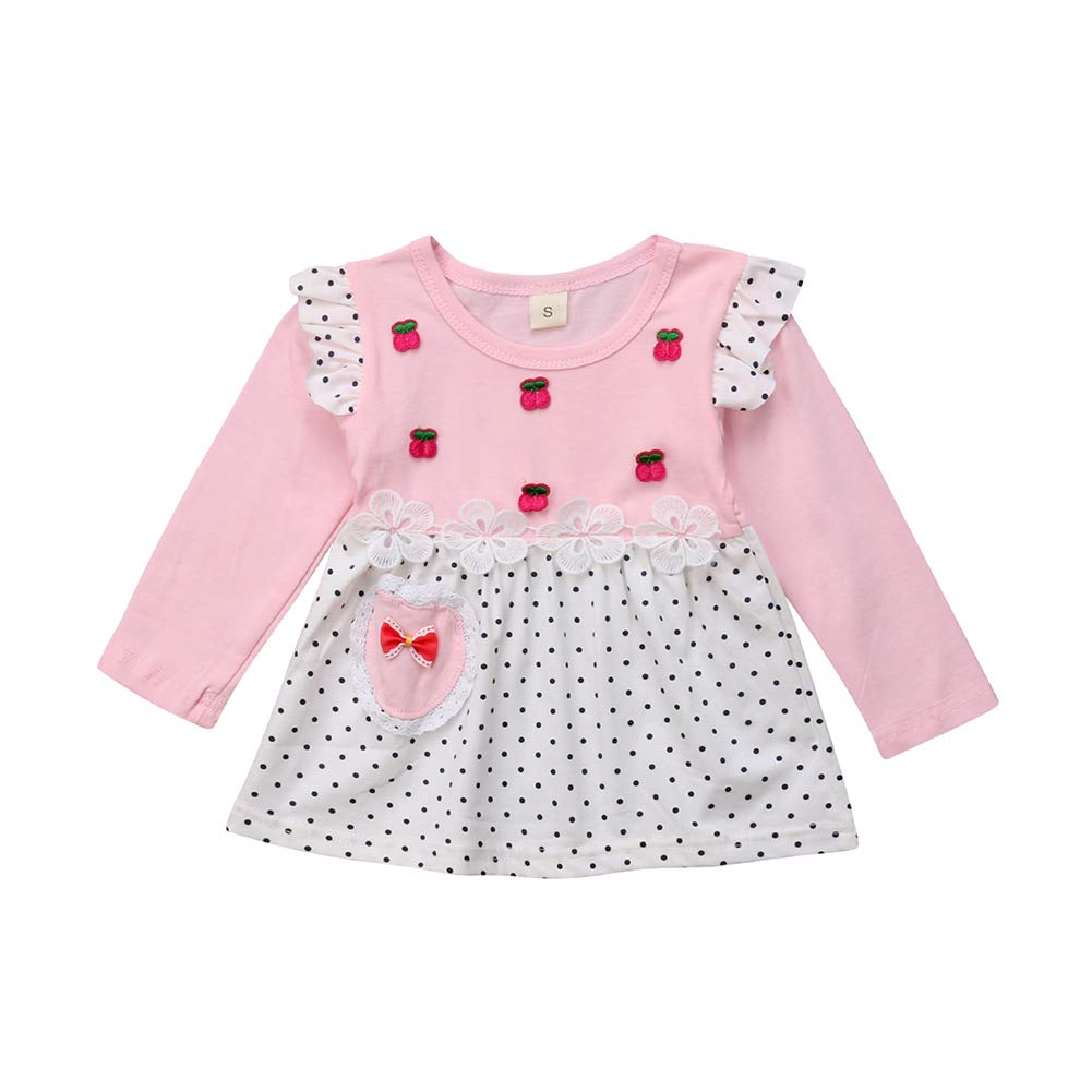Toddler Baby Girls Long Sleeeve Cotton Autumn Clothes Floral Print and Wave Point T Shirt Dress Outfits