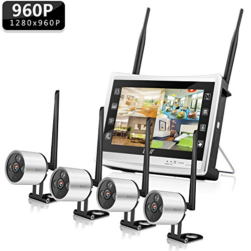 2b3ab308146 BNT Wireless Security Camera System Outdoor 4CH WIFI NVR 960P with HD LCD  Monitor   4 ...