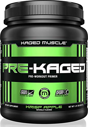 KAGED MUSCLE, PRE-KAGED Pre Workout Powder, Krisp Apple, L-Citrulline + Creatine HCl, Boost Energy, Focus, Workout Intensity, Pre-Workout, Krisp Apple, 621 Grams
