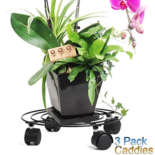 """Moutik Round Plant Caddy Metal:Plant Stand with Lockable on Roller Patio Flower PotS Rack Plant Holder (10"""" x3, Black)"""