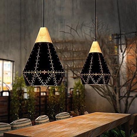 Vintage industrial viento araña personalidad creativa ropa tienda lámpara americana solo cabezal calado negro Lámpara de