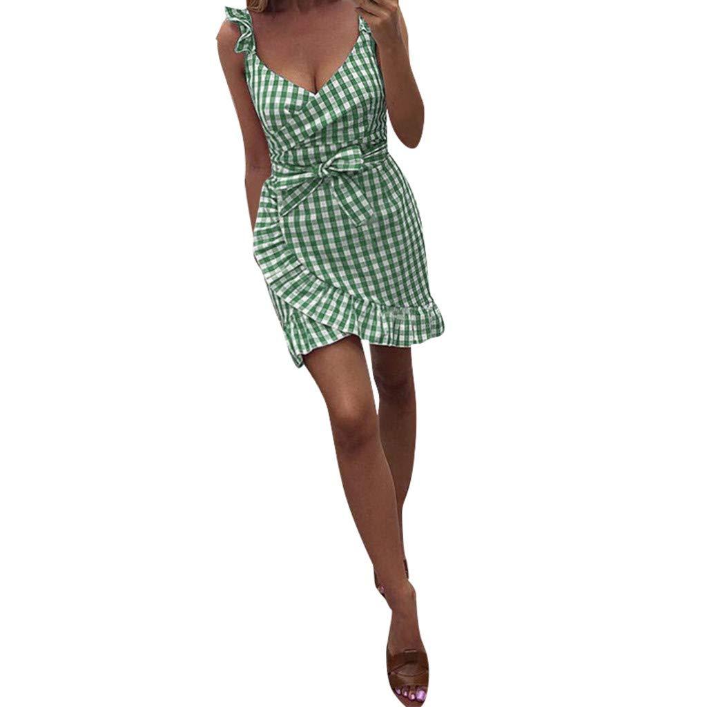Euone Dress Clearance, Women Plaid Ruffle Irregular Dress Clearance Petal Sleeve Bowknot Short Mini Sundress V-Neck Beach Party Casual Dresses