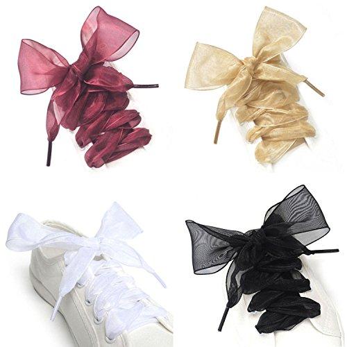 Ribbon Shoe Laces (FadJollys Shoe Laces, 4 Pairs Soft Casual Flat Satin Ribbon Shoelaces for Women Girls Sneaker Shoestrings 4CM)