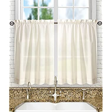 Ellis Curtain Stacey 56-by-45  Tailored Tier Pair Curtains, Ice Cream