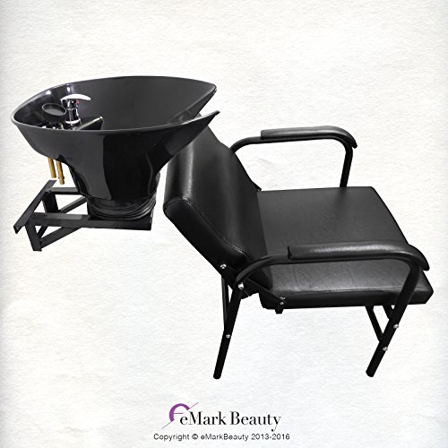 Salon Backwash Shampoo Tilt Bowl Sink Wall Mounted Easy Reclining Shampoo Chair TLC-B36WT-216A by eMark Beauty