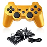 XFUNY Wireless Bluetooth 6 Axis Wireless Game Controller Gamepad Joypad with Dual USB Charger Station Dock and Charging Cable for PlayStation 3 PS3