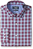 Original Penguin Men's Slim Fit Performance Spread Collar Check Dress Shirt, Maroon, 17 32/33