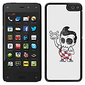 // PHONE CASE GIFT // Duro Estuche protector PC Cáscara Plástico Carcasa Funda Hard Protective Case for Amazon Fire Phone / Pizza Boy Skull Skeleton Italian Funny /