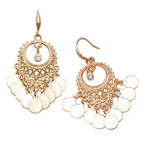 Rosemarie Collections Women's Bohemian Disc Coin Tassel Dangle Earrings (Gold Tone)