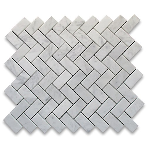 Carrara White Italian Carrera Marble Herringbone Mosaic Tile 1 x 2 Polished (Bianco Tile Flooring Mosaic)