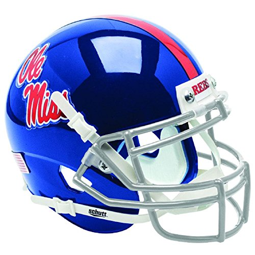 Mississippi Ole Miss Rebels Blue Chrome Decal Officially Licensed Full Size XP Replica Football Helmet