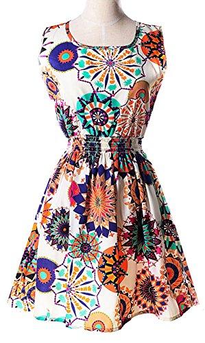 Longwu Women's Sleeveless Round collar Elastic waist Floral Print A-Line Dress 20#-M (Wine Gift Delivery Sydney)