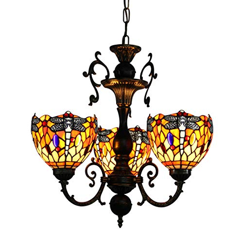 Art Glass Stained Glass Chandelier - Makenier Vintage Classic Art Tiffany Style Stained Glass 3 Arms Dragonfly Chandelier, 7 Inches Lampshade