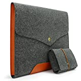 Sinoguo Gray Felt & Leather Handmade Case Bag Holder Sleeve Cover Pouch for 15-Inch Macbook Pro /Pro with Retina Display and Ultrabooks, Notebooks, Laptops