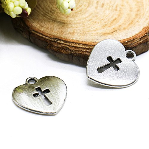 RTNOW Pack of 50 Alloy Antique Love Heart Charms Pendants fo