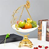 Food Serving Tray Set Vintage Golden Alloy Display Stand with White Ceramic Dishes Fruit Plate Basket for Salad Bowls Fruit Cake Cookies for Parties Hosting (XRA-229)