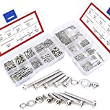 Hilitchi 600-Piece M2 M3 Phillips Pan Head Screws Bolt Nut Lock Flat Washers Assortment Kit, 304 stainless steel