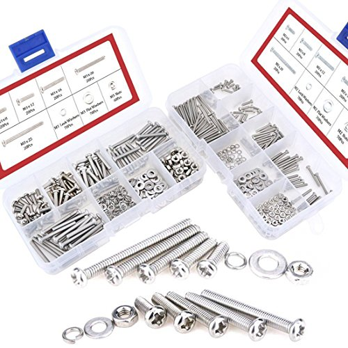 Hilitchi 600-Piece M2 M3 Phillips Pan Head Screws Bolt Nut Lock Flat Washers Assortment Kit, 304 stainless steel by Hilitchi
