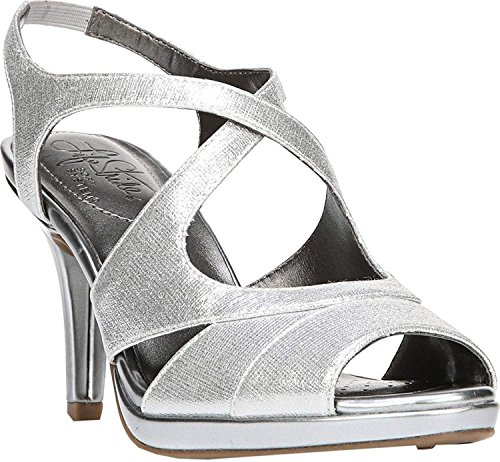 LifeStride Womens Viking Fabric Open Toe Ankle Strap, Silver Astro, Size 10.0 -