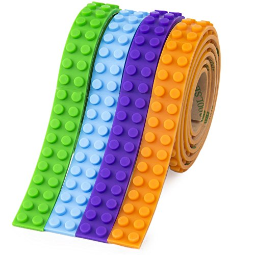 Building Block Tape for Kids, Lego Brick Compatible Silicone Tape Roll with 3M Adhesive Stripes, Construction Wall Tapes, Toy Gift for Boys & Girls (Green Blue Purple Orange)