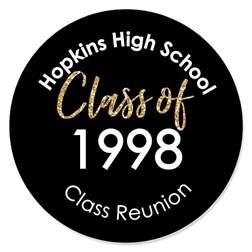 Personalized Reunited - Custom School Class Reunion Party Sticker Labels - Custom Class of Text - 24 Count ()